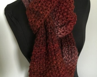 Knitted Long Soft Cozy Red  Scarf Handmade Accessories Ready To Ship