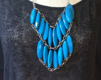SALE!! Plastic Blue Faceted Bead Bib Necklace with Silver Tone Chain