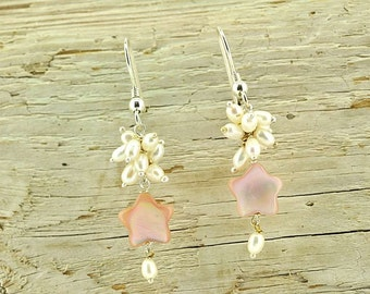 White fresh water pearls, rose mother of pearl and sterling silver earrings.