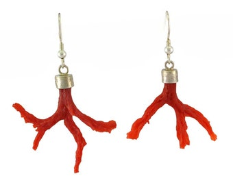 Mediterranean red coral earrings