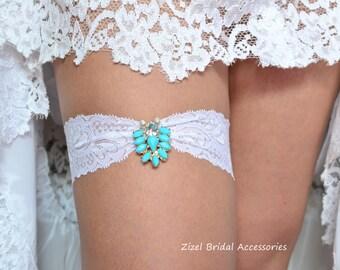 White Lace Garter, Teal Blue Garte, Bridal Garter Set, Something Blue, Rhinestone Garter, Blue Wedding Garter, Aqua Garter, Turquoise Garter
