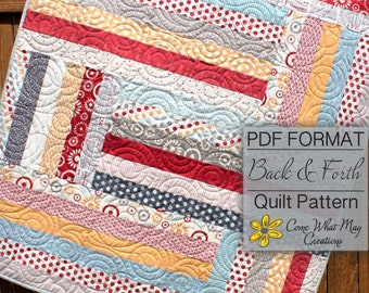 Baby Quilt Pattern, Jelly Roll Quilt Pattern, Back & Forth Baby Quilt Pattern, Lap Quilt Pattern, Beginner Quilt Pattern, Strip Quilt, PDF