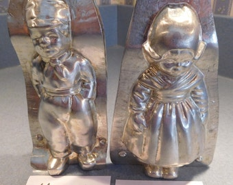 Dutch Boy and Girl #4208/77 and #4209/10 Vintage Metal Candy Mold