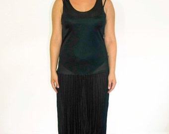 Black Drop Waist Pleated Dress/ Sheer Black Dress with Pleated Skirt/ Sheer Drop Waist Black Dress/ Flapper Black Dress/ Black Midi Dress