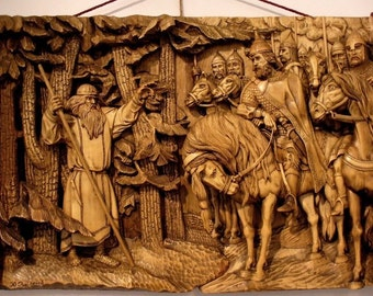 "Picture of carved wood. ""Historical""."