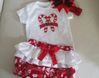 My 1st Christmas outfit,Girl Christmas Outfit Baby Girl, Candycane Bloomers with Ruffles and Hairbow,  Size Newborn- 12 Months