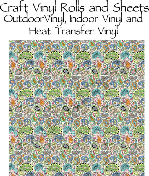 Beautiful, Vibrant Patterned Craft Vinyl and Heat Transfer Vinyl in Paisley Pattern 220
