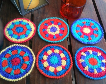 Colorful coasters handmade crocheted