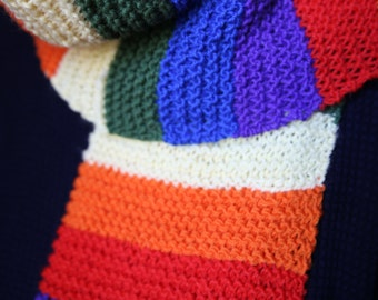 Horizontal striped multicolored rainbow wool scarf