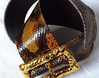 CHRISTIAN LACROIX Belt, Massive Gold Buckle, Luxury Vintage Chic High Fashion, Snakeskin, Gold Tone, Brown, Gift for Her