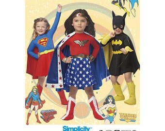 Sewing Pattern for Child Size 3 to 8 , Simplicity Pattern 1035, Halloween Costume, Wonder Woman, Bat Girl, Super Girl Costumes, DC Comics