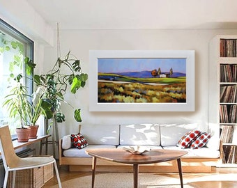 """Original landscape painting 48"""" 24"""", Little symphony of the uncultivated, by Antonello Plantamura, Express Shipping"""