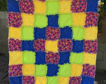 Baby Rag Quilt-Bright Dots