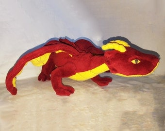 Baby Horned Dragon Plush With Poseable Wings, Made from Soft Minky with Magnet Option to Sit on Shoulder - Ideal for Cosplay or Toys