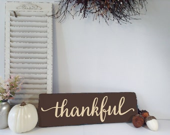 Wood Thanksgiving Sign, Wood Thanksgiving Decor, Wood Thankful Sign