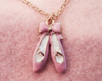 Pink Ballet Slippers Shoes Charm Necklace