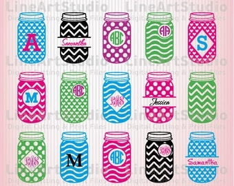 Mason Jar SVG Monogram Frames - SVG Cut Files - Monogram Chevron Mason Jar Files SVG Silhouette files Svg Cricut files