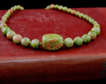 Unakite and copper beaded necklace with large center bead