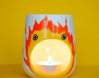 Calcifer Oil Burner - Studio Ghibli Gift - Howls Moving Castle - Fire Demon - Anime - Candle Holder - Room Fragrance - Tea light - Orange