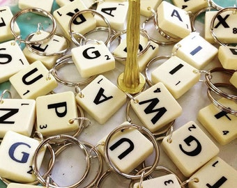 Scrabble Keyring, scrabble letter, scrabble gift, gifts for her, gifts for him, wedding favour