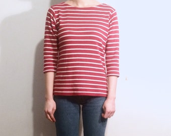 Vintage 90's | Red and white marinière 3/4 sleeves LL Bean breton top | Size small to medium
