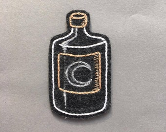 Hand embroidered moonshine bottle patch
