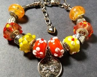 "Christmas Horoscope- Leo - Pandora Style Bracelet 7.5"" Lobster Clasp-Orange and Yellow-#5722021"
