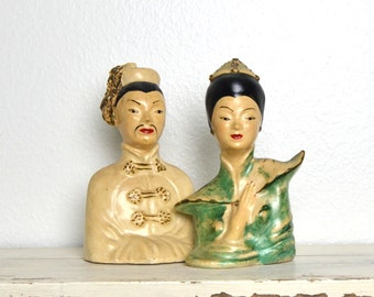oriental chalkware man and woman collectible figurines