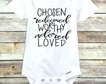 Chosen redeemed worthy adored loved adopted onesie #adopted adoption