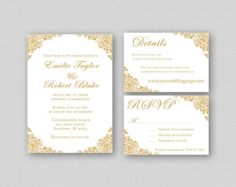 Wedding Invitations, Gold Wedding Invitation Suite, Elegant Wedding Invitation Template, Printable Wedding Invitation Set - Floral Corners