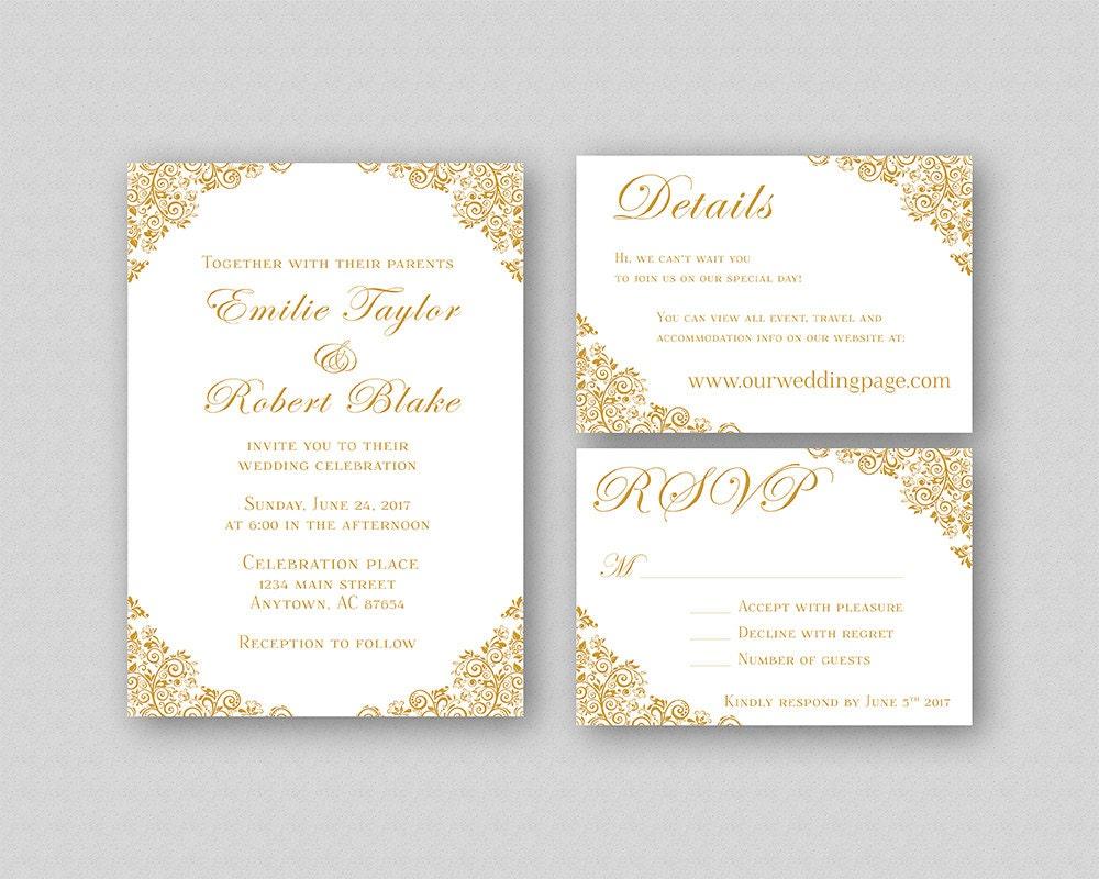 Downloadable Wedding Invitation Templates: Wedding Invitations Gold Wedding Invitation Suite Elegant