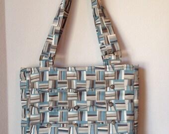 Modern handbag, classic bag, medium purse, stylish purse, soft bag, brown purse, geometric print purse, pleated bag, shoulder bag,