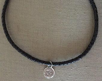Men's Zen Black Braided Leather Cord Necklace