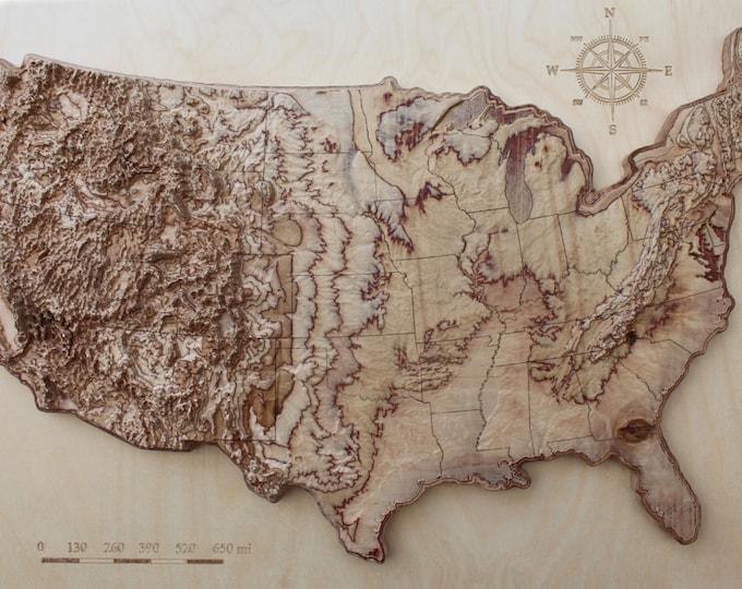 """3d terrain wooden map of USA 16"""" x 24"""""""