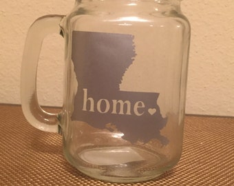 "Louisiana ""Home"" Mason Jar Mug"