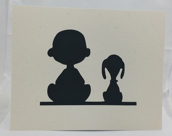"Snoopy Peanuts Inspired Cut Paper Silhouette Portrait 8"" x 10"" Cut Out Art Portraits"