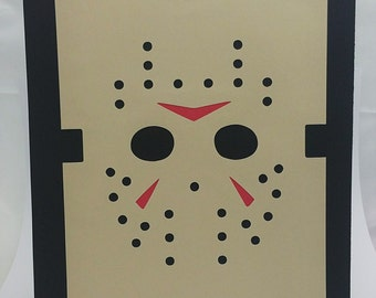 "Halloween Jason Inspired Cut Paper Silhouette Portrait 8"" x 10"" Cut Out Art Portraits"