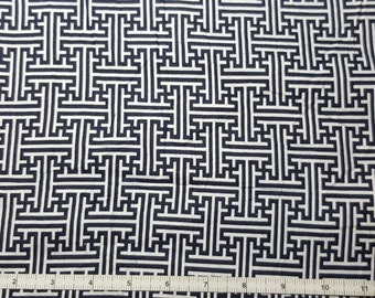 SALE - Labyrinth Fabric, Yardage, Fat Quarter, FQ, By the Yard, Navy and White Fabric, Maze Fabric, Blue and White Interlocking Lines