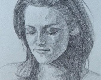Kristen Stewart Portrait Drawing Pencil Signed