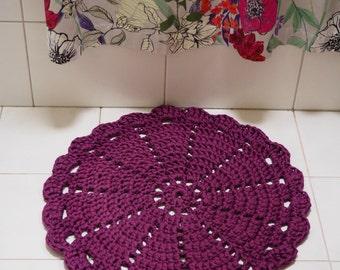 60cm Purple Crocheted Round  Bathmat/ Doily Rug - ready to ship