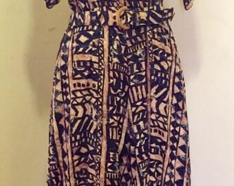 Tribal print summer dress/ Printed vintage dress
