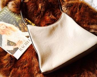 Vintage Mondani Cream Leather Handbag