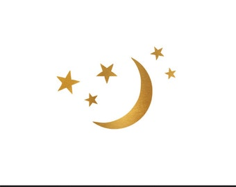 moon and stars gold foil clip art svg dxf file instant download silhouette cameo cricut digital scrapbooking commercial use