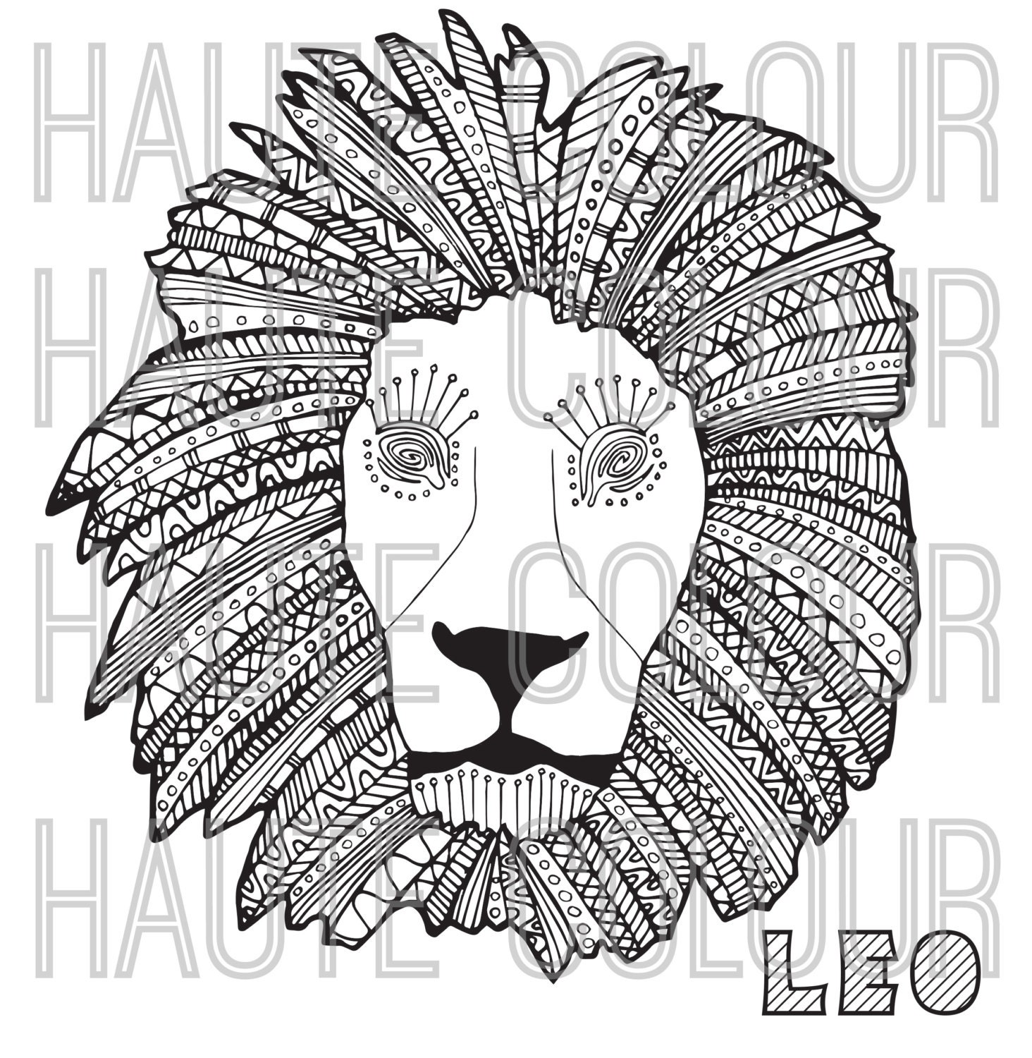 Leo zodiac single coloring page digital download for Leo coloring pages