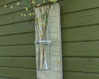 White Wall Sconce. Wood Wall Sconce. Rustic Wall Sconce. Vase Sconce. Flower Vase Sconce. Shabby Chic Sconce. Reclaimed Wood Sconce.