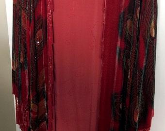 Red Burnout Velvet Long Duster - One Size