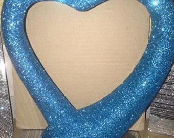Cobolt metallic glittered heart sculpture