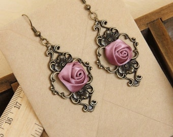 Rose earrings, romantic earrings, elegant earrings, drop earrings, dangle earrings, , vintage earrings, lace earrings, earrings, OE-41