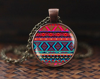 Boho pink necklace, ethnic print necklace, Mexican art print necklace, bohemian pink print necklace, glass dome necklace