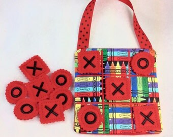 Tic Tac Toe, kids game, travel games, road trip games, felt games, crayon fabric, x's and o's, kids gift, stocking stuffer, toys & games